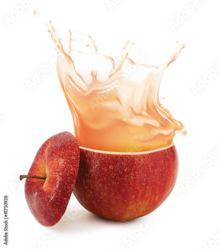 Poster Opspattend water Apple juice splashing isolated on white