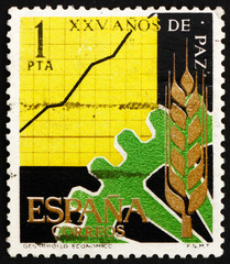 Postage stamp Spain 1964 Cogwheel, Wheat and Chart