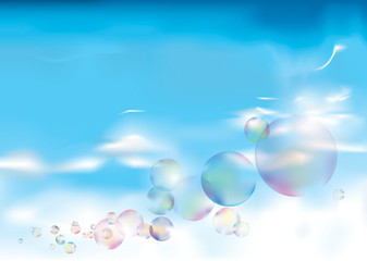 Soap bubbles on blue sky / Clear weather