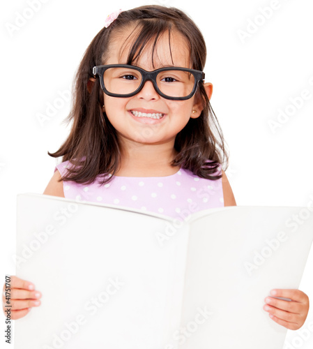 Girl student reading book