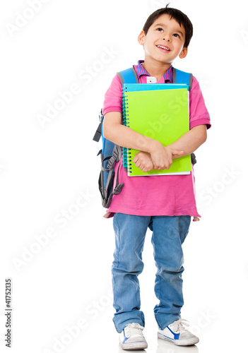 Boy thinking about school