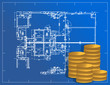detailed blueprint and coins illustration design