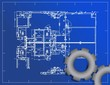 detailed blueprint and gear illustration design
