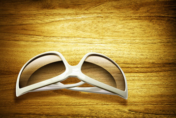 sunglasses on desk