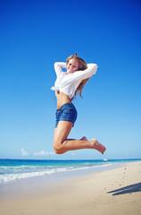 Beautiful tourist woman on summer vacation, beach, bali