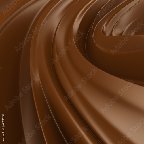 Liquid Chocolate background. Choco wave swirl.