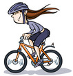 Cartoon Girl on Bike.