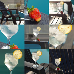 collage of swimming pool, lounge, a wine glass with ice, lemon a