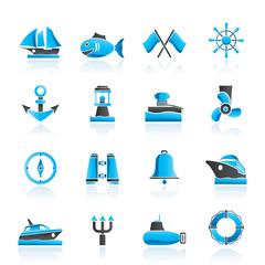 Marine, sea and nautical icons - vector icon set