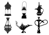 Middle Eastern Vector Illustrations - Lamps, Coffee Pot, Hookah poster