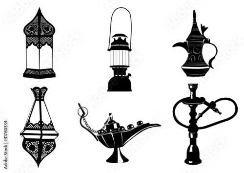 Middle Eastern Vector Illustrations - Lamps, Coffee Pot, Hookah