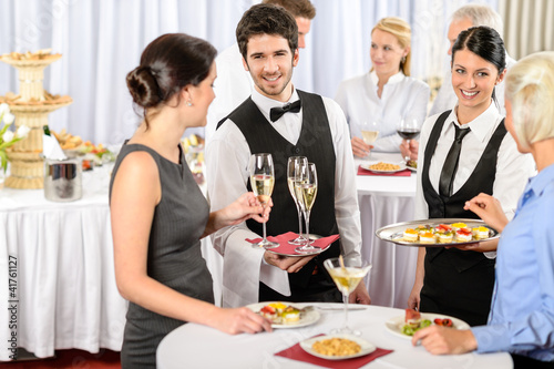 Catering service at company event offer food