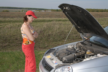 A woman and a car
