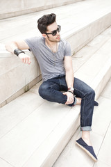 young man dressed casual - outdoor