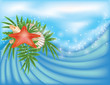 Summer card with starfish and palm, vector