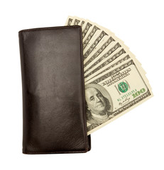 Dollar bills U.S. in leather purse