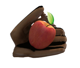 baseball glove and apple
