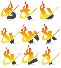 Swoosh Flame Alphabet Set 3