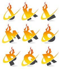Swoosh Flame Alphabet Set 2