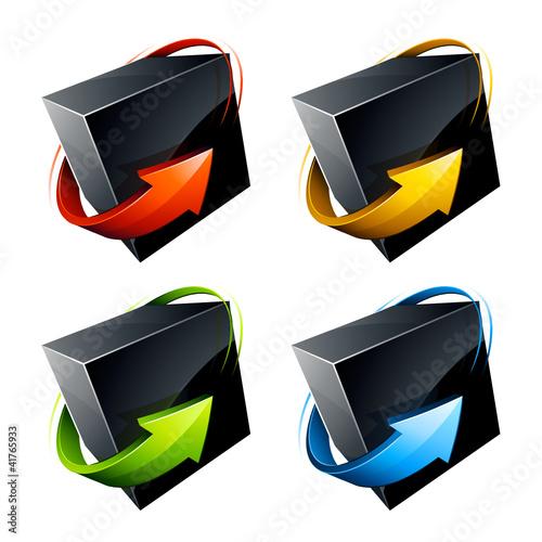 cube 3D flèche