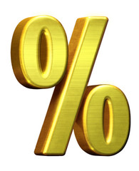 Metal golden % percent percentage symbol on white background