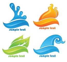 glossy nature symbols, vector decorative elements