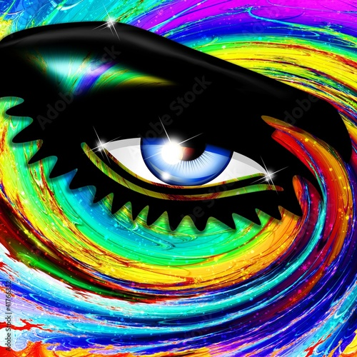 Fototapeta Occhio Ipnotico Psichedelico-Hypnotic Psychedelic Girl's Eye