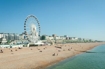 sunny day on brighton beach, uk
