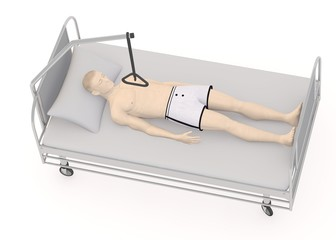 3d render of artificial character on hospital bed