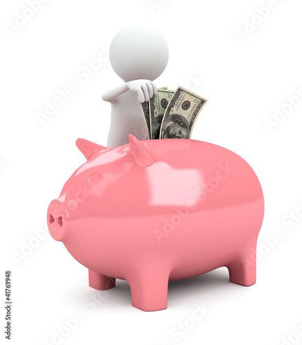 3d person with piggy bank on white background