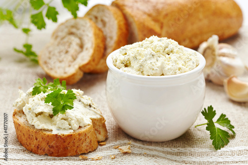 fresh cream cheese and bread