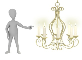 3d render of cartoon character with candlestick