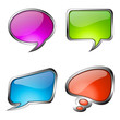 Set of colorful glass speech bubbles with metallic frame
