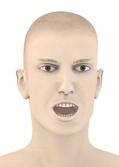 3d render of artifical mala face with open mouse