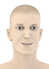 3d render of artifical mala face - smile