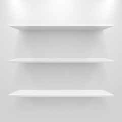 Empty white shelves on light grey background