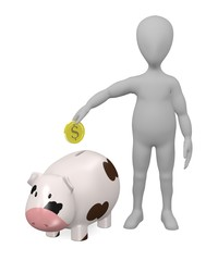 3d render of cartoon character with piggy bank