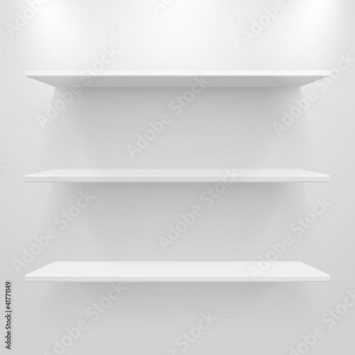 Empty white shelves on light grey background