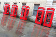 London - red telephone boxes street