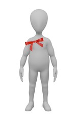 3d render of cartoon character with ribbon