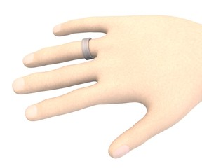 3d render of hand with ring