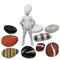 3d render of cartoon character with river stone