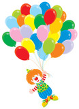Circus clown flies with balloons poster