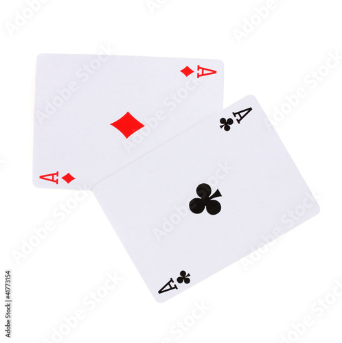 Two aces isolated on white