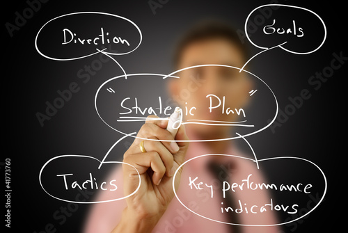Businessman write business strategic planning on the whiteboard.