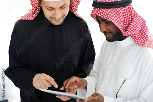 Business people planning work in office working on tablet comput