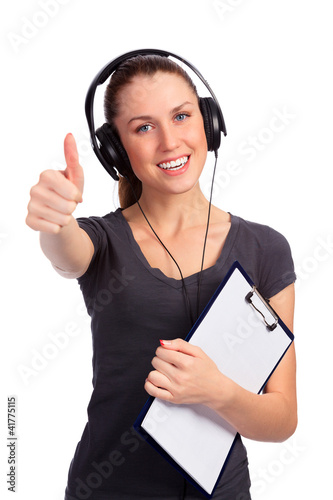 Happy smiling student with thumbs up gesture