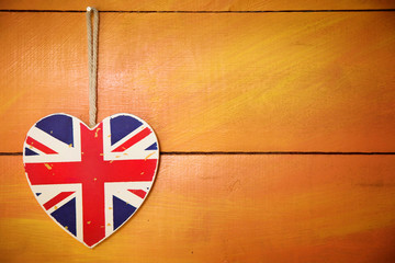 Rustic wooden Union Jack heart