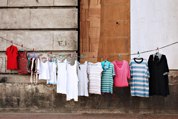 Makeshift Clothesline in Slums