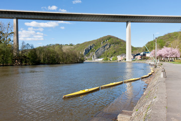 River Meuse near Dinant in Belgium, a highway is crossing te riv
